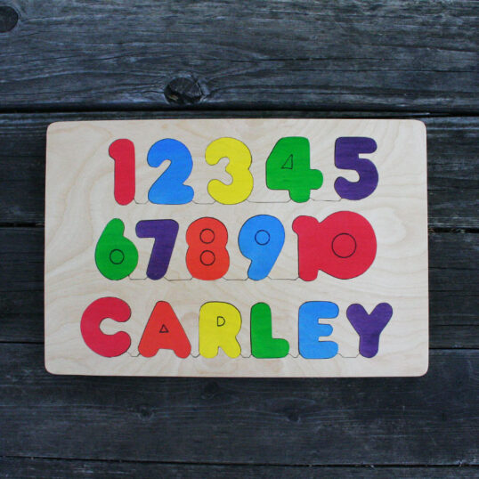 Number name wooden puzzle